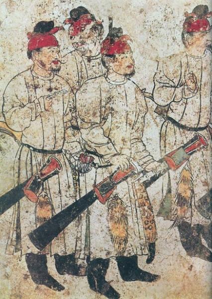 Изображение мужчин на фреске в гробнице Ли Сяня (изгнанного сына У Цзэтянь) в Цяньлинском мавзолее, 706 год. Иллюстрация. Фото: Public Domain