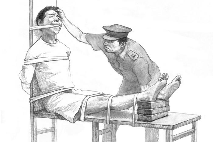 Иллюстрация часто применяемой в Китае к заключенным пытки «скамья тигра». Рисунок: The Epoch Times