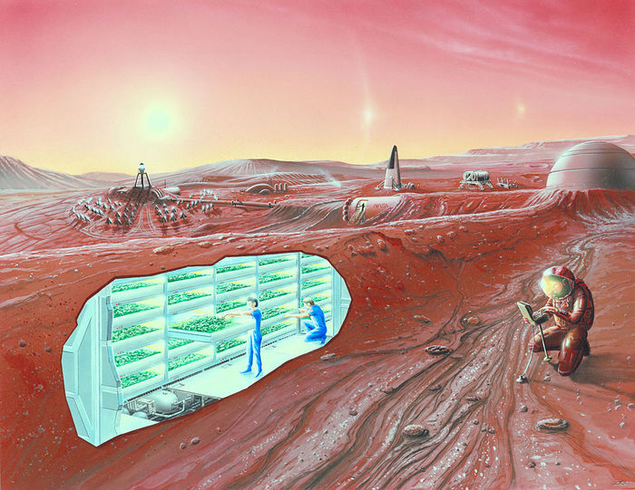 Предполагаемый вид будущей колонии на Марсе. Фото: NASA