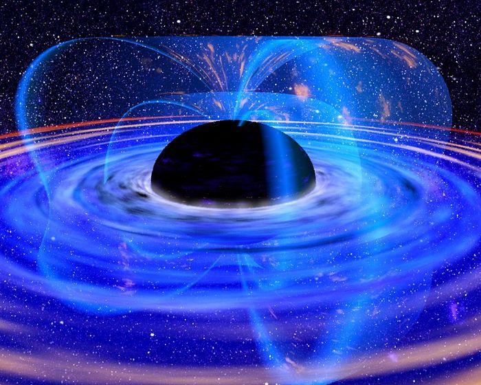 Рисунок художника: аккреционный диск горячей плазмы, вращающийся вокруг чёрной дыры. Фото: NASA