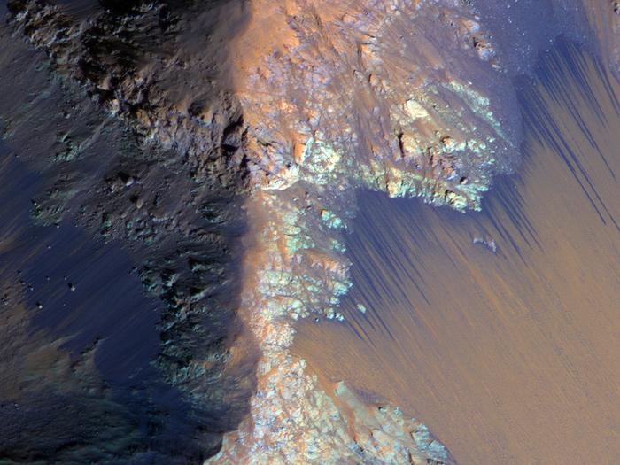 Тёмные полосы на Марсе могут быть следами солёных рек. Фото: NASA