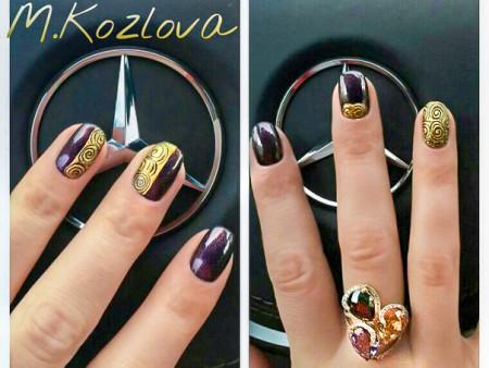 Дизайн ногтей, чеканка на ногтях.