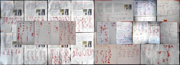 Петиция, подписанная жителями Тяньцзиня, с требованием освободить последователей Фалуньгун Чжоу Сянгуан и Ли Шаньшань. Фото: Epoch Times