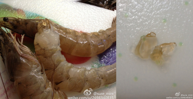 Китайская креветка с гелем. Фото: Weibo.com