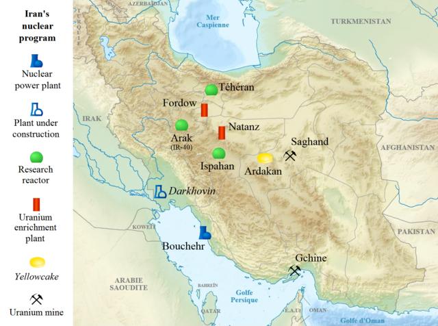 Основные объекты ядерной программы Ирана. Фото: Yagasi/wikipedia.org/CC BY-SA 4.0