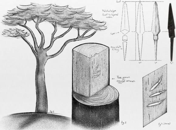 Изображение арбалетных болтов, найденных в деревянной балке на острове Оук. Крайний справа болт — фотоснимок настоящего артефакта, а не рисунок. Фото предоставлено J. Hutton Pulitzer/InvestigatingHistory.org