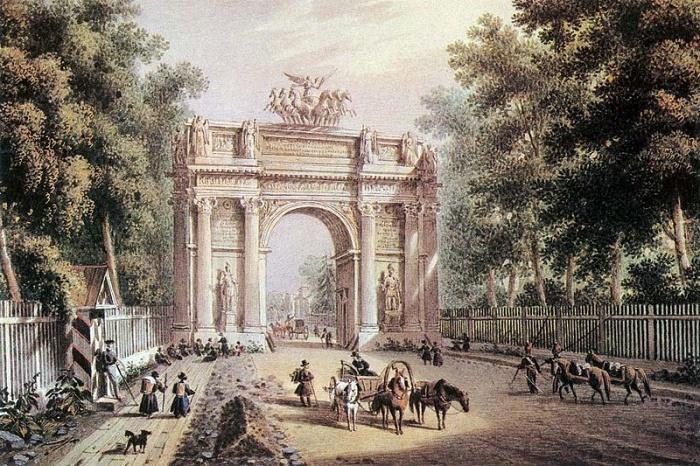 Фото: «Триумфальные ворота». Акварель К. П. Беггрова/commons.wikimedia.org/ public domain