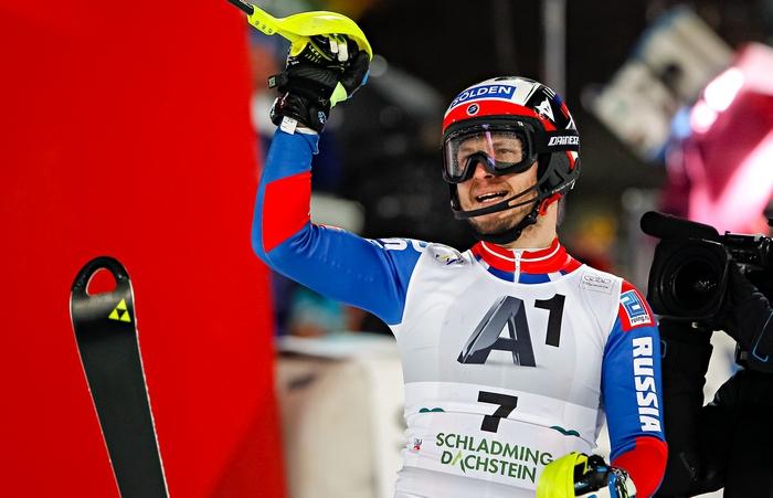 Александр Хорошилов ― бронзовый призёр в мужском слаломе на этапе Кубка мира в Шладминге, Австрия, 26 января, 2016 год. Фото: Alexis Boichard/Agence Zoom/Getty Images