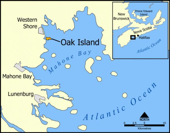 Карта, на которой показан остров Оук (канадская провинция Новая Шотландия). Фото: Norman Einstein/CC BY-SA