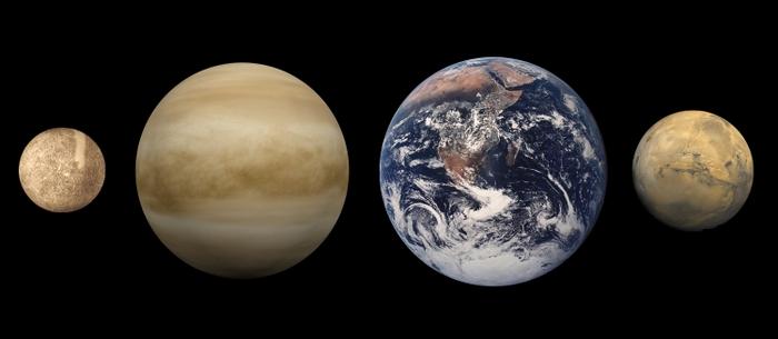 Планеты земной группы. Слева направо: Меркурий, Венера, Земля и Марс. Фото: Ubiquinoid/wikipedia.org/public domain