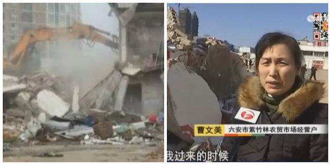 Владельцы магазина на сельском рынке пожаловались китайским СМИ, что местные полицейские сносят без разрешения торговые точки.