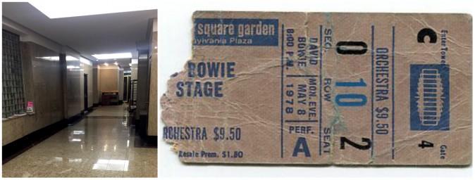 Место судьбоносной встречи и билет на концерт Дэвида Боуи. Фото: Courtesy of Sterling Campbell