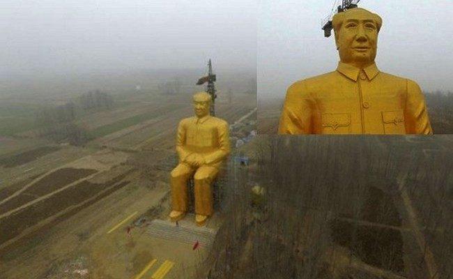В Китае таинственно появилась и исчезла огромная статуя Мао Цзэдуна