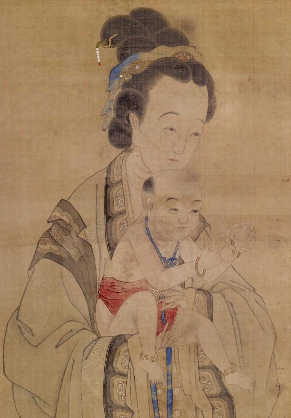 Мать принесла ребёнка в храм, китайская картина XVIII века. Фото: Walters Art Museum/Epoch Times