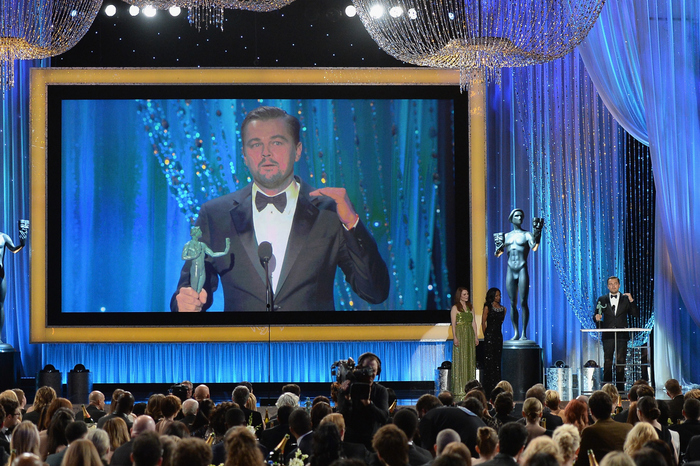 Леонардо ДиКаприо получил награду от американской гильдии киноактёров за лучшую мужскую роль в фильме «Выживший» . Фото: Kevork Djansezian/Getty Images)