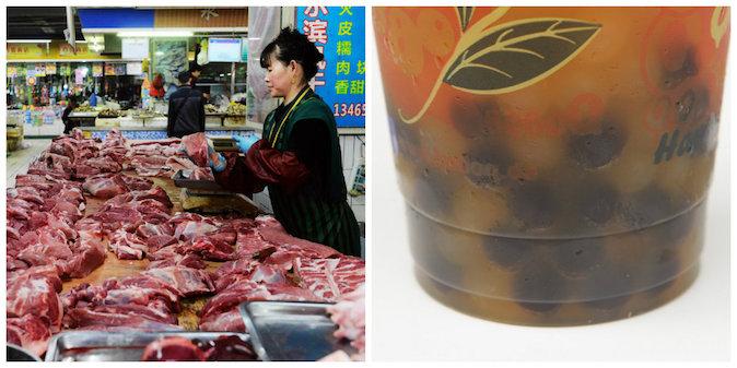 Слева: китайский продавец торгует мясом в Циндао, провинция Шаньдун. Справа: чай с «жемчужинами». Фото: STR/AFP/Getty Images and Sean Gallup/Getty Images
