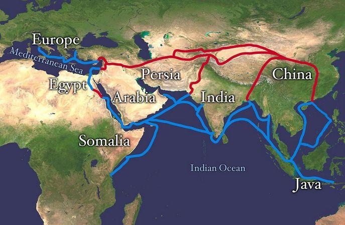 Карта Шёлкового пути. Красным изображён наземный маршрут, синим - морской. Фото: wikipedia.org/Public Domain
