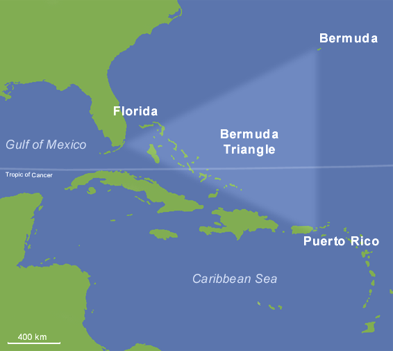 Карта Бермудского треугольника. Фото: wikipedia.org/ public domain