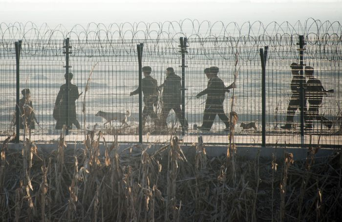 Граница между Северной и Южной Кореей. Фото: JOHANNES EISELE/AFP/Getty Images