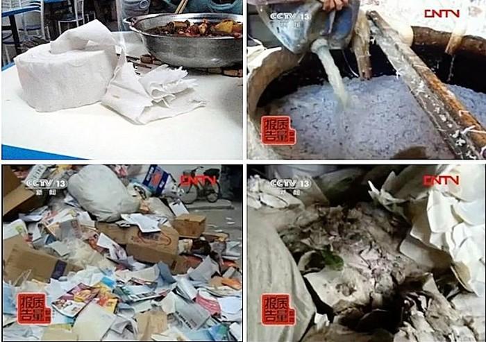 Сырьё и процесс производства токсичных бумажных салфеток в Китае. Фото: epochtimes.com