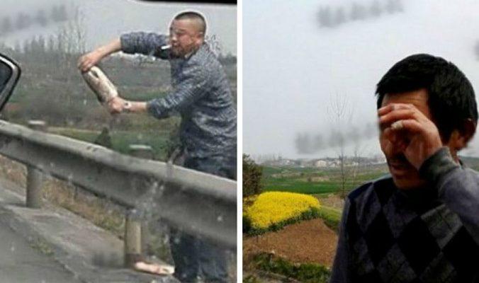 Что упало, то пропало: китайцы мгновенно растащили рыбу, вывалившуюся из грузовика