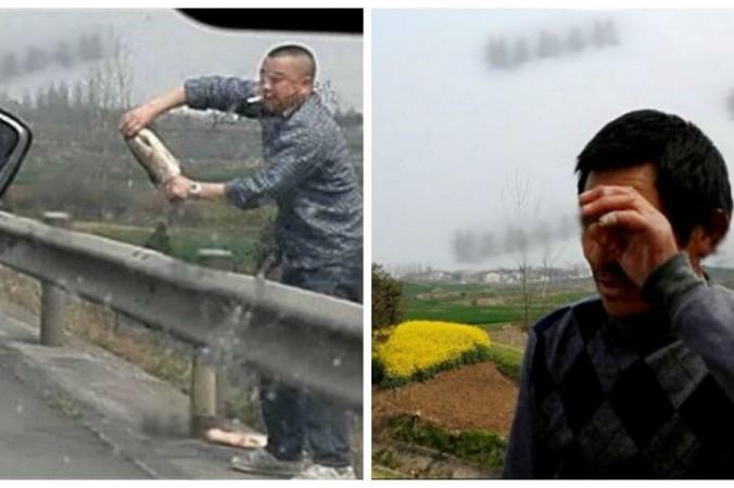 Г-н Лю в слезах смотрит, как растаскивают его рыбу в Хубэе 24 марта. Фото: Chutian City Daily