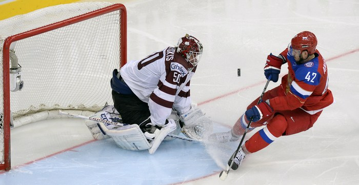 Матч Россия-Латвия.Фото: ALEXANDER NEMENOV/AFP/Getty Images