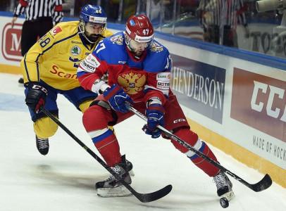 Матч Евротура между командами России и Швеции. Фото: ALEXANDER NEMENOV/AFP/Getty Images
