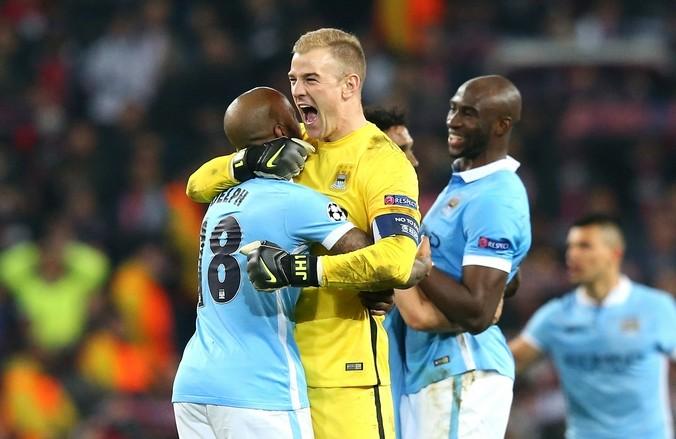 «Манчестер Сити»  празднует выход в полуфинал Лиги чемпионов, 12 апреля, Великобритания, 2016 год. Фото: Alex Livesey/Getty Images