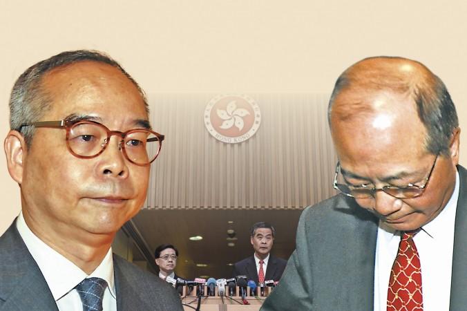 Два секретаря главы администрации Гонконга Лян Чжэньина, секретарь по внутренним делам Лау Кхон-ва и секретарь по делам образования Эдди Нг Хак-ким, оказались в центре политического скандала. Коллаж: The Epoch Times