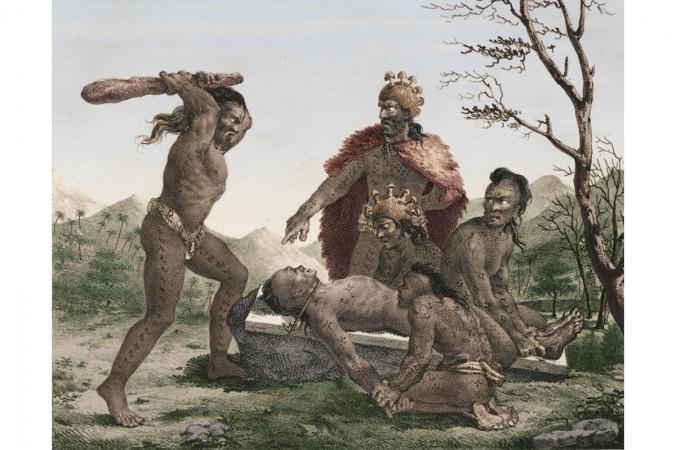 Ритуальное человеческое жертвоприношение в гавайской культуре, иллюстрация французского исследователя и художника Жака Араго. Иллюстрация из книги «Прогулки по свету», Жак Араго, 1822 г.