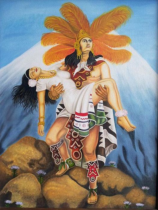 Иллюстрация легенды Попокатепетль и Истаксиуатль из цикла Grandeza Azteca («Величие ацтеков») художника Хесуса Хелгуэры. Фото: AntoFran/CC BY SA 3.0