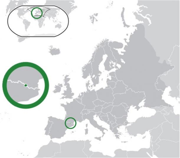 Расположение Андорры в Европе (обведена зелёным кружком). Фото: CC BY-SA 3.0
