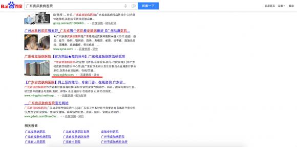 Скопированный сайт в китайском поисковике Байду. Фото: Screenshot via Baidu