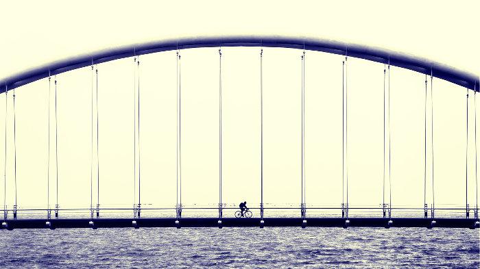 велосипед, прогулка, мост