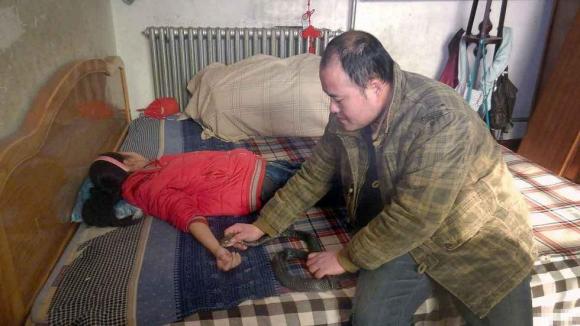 Ван Цзинхуай в своём доме в провинции Хэбэй демонстрирует лечение с помощью кобры. Фото: via Tencent