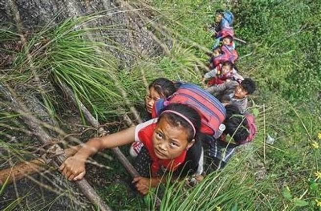 Дети карабкаются по лестнице в гору. Фото: via Beijing News