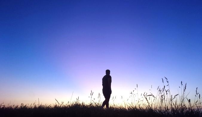 рассвет, человек, природа