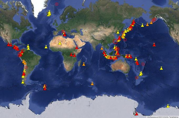 Карта активных вулканов