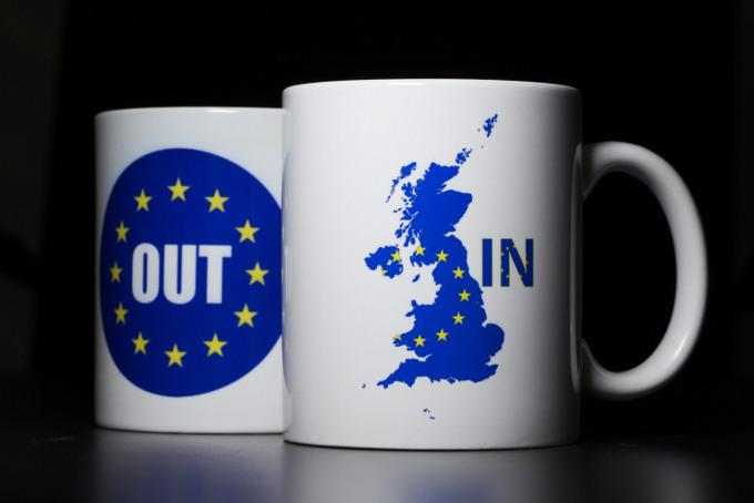 Кружки, олицетворяющие референдум о членстве в ЕС. Фото: Dan Kitwood/Getty Images
