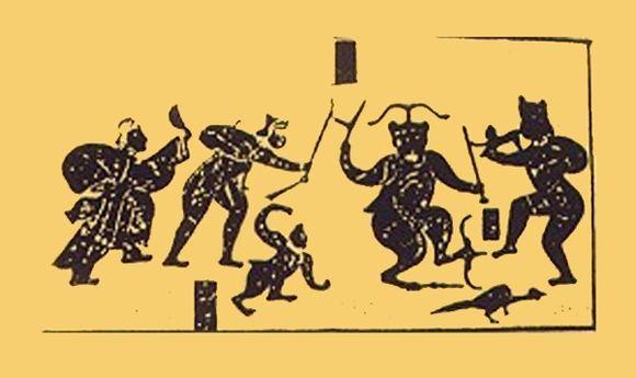 Первобытный китайский рисунок, на котором изображена битва против Чы Ю. Лидер племени — вторая справа крупная фигура на рисунке. Фото: Public Domain