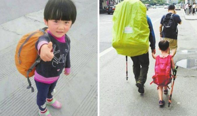 Вместо детского сада родители 4-летней девочки ходят с ней в походы по всему Китаю