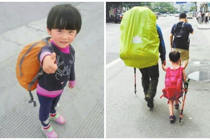 Вэнь-вэнь с отцом в Чэнду, административном центре провинции Сычуань, 13 июня. Они начнут свой поход отсюда. Фото: via Sina Weibo