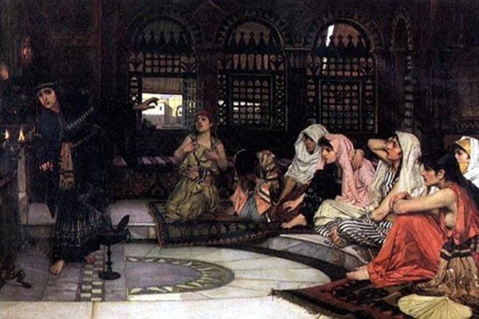 «Предсказательницы», картина Джона Уильяма Уотерхауса, изображающая восемь жриц в храме пророчеств. Фото: Public Domain