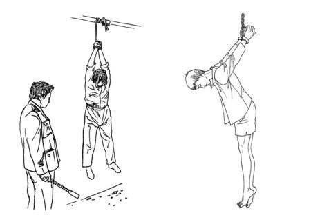 Часто применяемая в Китае милицией пытка подвешивание на долгое время и избиение. Иллюстрация: minghui.org