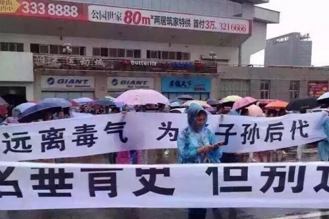 Протесты против строительства мусоросжигательного завода. Город Сяньтао провинции Хубэй. Июнь 2016 года. Фото: weibo.com