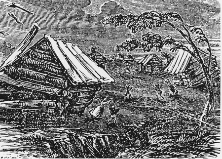 Гравюра, изображающая новомадридское землетрясение. Фото: wikipedia.org /Public Domain
