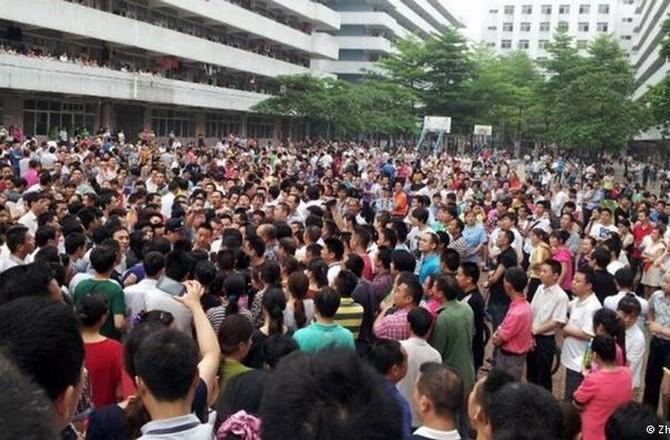 Забастовка рабочих обувной фабрики. Провинция Гуандун. Фото: epochtimes.com