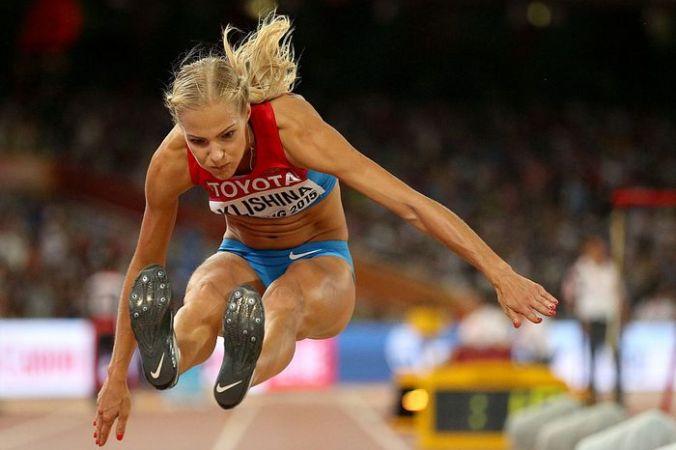 Российская легкоатлетка по прыжкам в длину Дарья Клишина. Фото: Patrick Smith/Getty Images