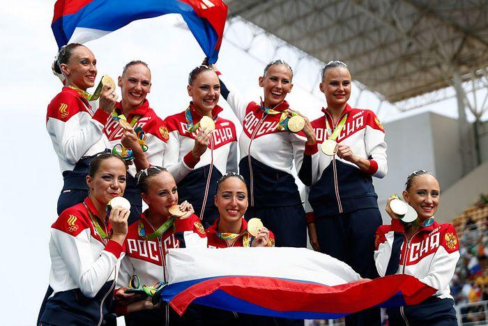Победа российских синхронисток на Олимпиаде в Рио-де-Жанейро, 19 августа, 2016 год. Фото: Clive Rose/Getty Images